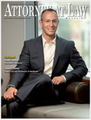 Criminal lawyer Adam Feldman on the cover of Attorney at law magazine